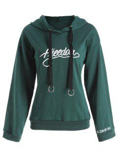 Letter Embroidery Drawstring Graphic Hoodie - Blackish Green L