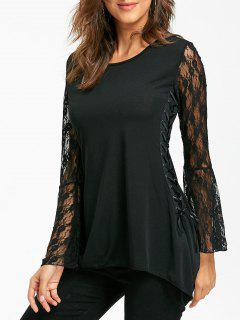 Lace Up Bell Sleeve Asymmetrical T-shirt - Black L