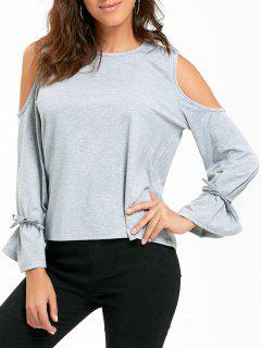 Cold Shoulder Bell Sleeve T-shirt - Gray L