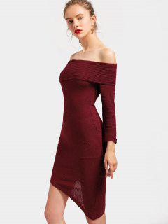 Off The Shoulder Asymmetric Knitted Dress - Deep Red S