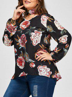 Plus Size Floral Print Blouse With Choker - Black Xl