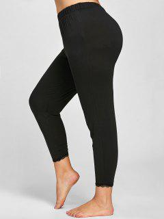 Plus Size Lace Trim Leggings - Black 3xl
