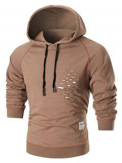 Raglan Sleeve Distressed Pullover Hoodie - Brown S