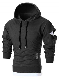 Patched Distressed Pullover Hoodie - Black M