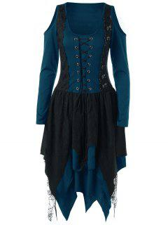Halloween Lace Up Layered Handkerchief Dress - Blue M