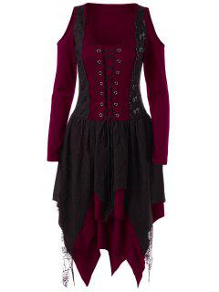 Vestido De Pañuelo En Capas Con Encaje De Halloween - Rojo M
