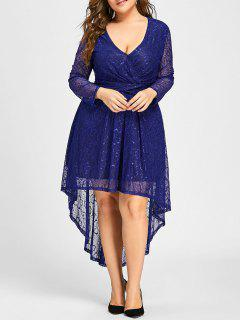 Plus Size Surplice Lace High Low Dress - Blue 5xl