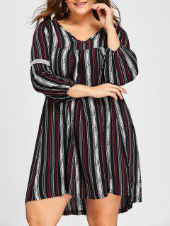 Plus Size Striped V Neck Dress - Black 4xl