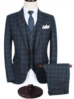 One-button Notch Lapel Plaid Business Suit - Black 4xl