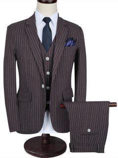 Notch Lapel Stripe Business Suit - Brown 5xl