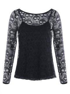 Halloween Hollow Out Skull Blouse With Cami Top - Black M