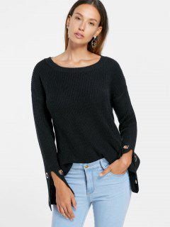 Grommet Detail Slit Sleeve Sweater - Black M