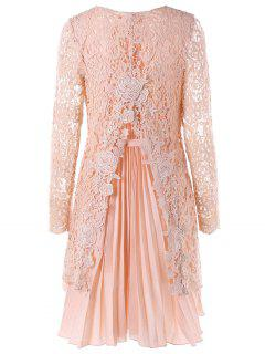 Long Sleeve High Low Mini Lace Pleated Dress - Pink L