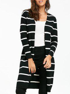 Open Front Striped Longline Cardigan - Black M