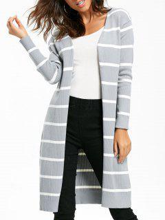 Open Front Striped Longline Cardigan - Gray Xl