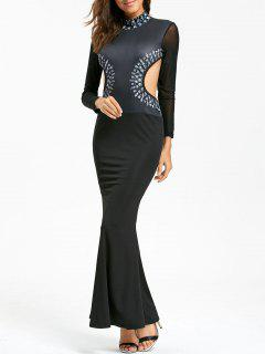 Cut Out Side Long Sleeve Floor Length Mermaid Dress - Black L