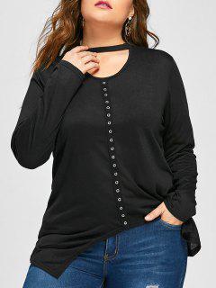 Plus Size Keyhole Asymmetrical Grommet T-shirt - Black 3xl