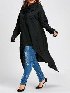Plus Size Convertible Neck Long High Low Top - Black 3xl