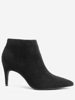Stiletto Side Zip Ankle Boots - Black 37