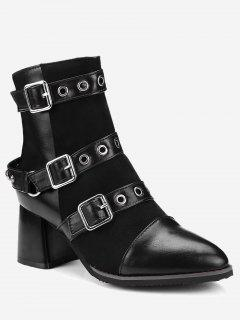 Ankle Multi Buckle Straps Chunky Boots - Black 38