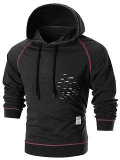 Raglan Sleeve Distressed Pullover Hoodie - Black S