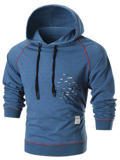 Raglan Sleeve Distressed Pullover Hoodie - Blue 2xl