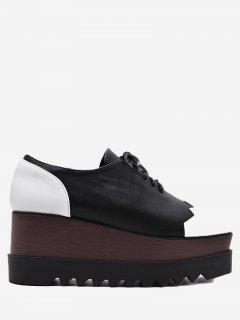 Faux Leather Color Block Wedge Shoes - Black 37