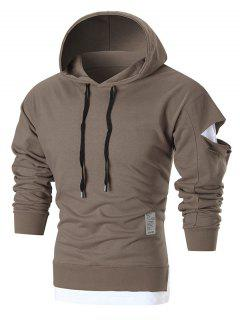 Patched Distressed Pullover Hoodie - Brown L