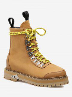 Metal Detail Platform Short Boots - Brown 39