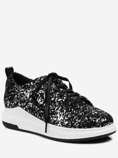 Sequined Low Heel Sneakers - Silver 38