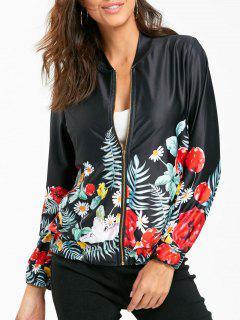 Zip Up Short Floral Jacket - Black M
