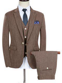 Slim Fit Stripe Lapel Business Suit - Coffee 2xl