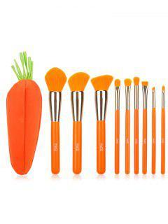 9Pcs Makeup Brush Set With Carrot Bag - Orange Red