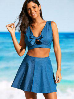Smocked Bowknot Top With Beach Skirt - Blue S
