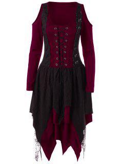 Robe Halloween à Volants Superposés Avec Lacets  - Rouge M