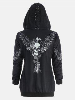 Skull Wings Print Halloween Zip Up Hoodie - Black L