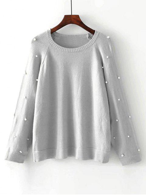 Übergröße Pullover mit Raglan Ärmel und Faux Perlen - Grau L Mobile