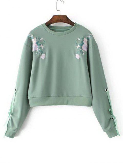 Sweatshirt mit Schleifedetail an den Ärmel und Blumenstickerei - Grün S Mobile