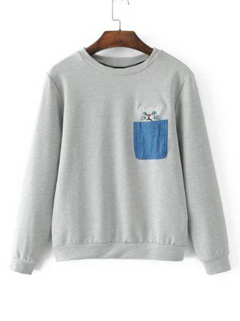 Bolsillo de contraste del gato sudadera bordada - Gris M Mobile