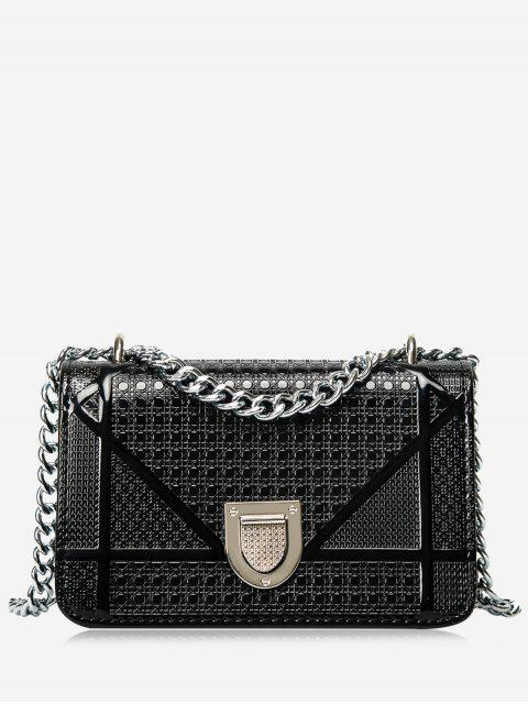 outfits Geometric Quilted Chain Crossbody Bag - BLACK  Mobile
