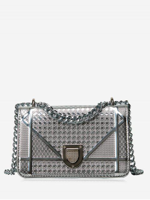 shops Geometric Quilted Chain Crossbody Bag - SILVER  Mobile