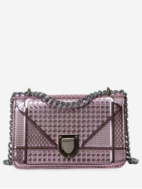 trendy Geometric Quilted Chain Crossbody Bag - PINK  Mobile