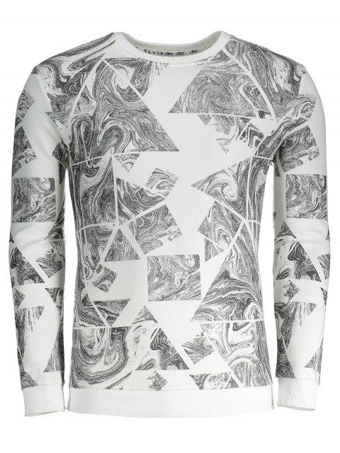 Sweat-shirt Homme Imprimé Abstrait - Blanc 3XL Mobile