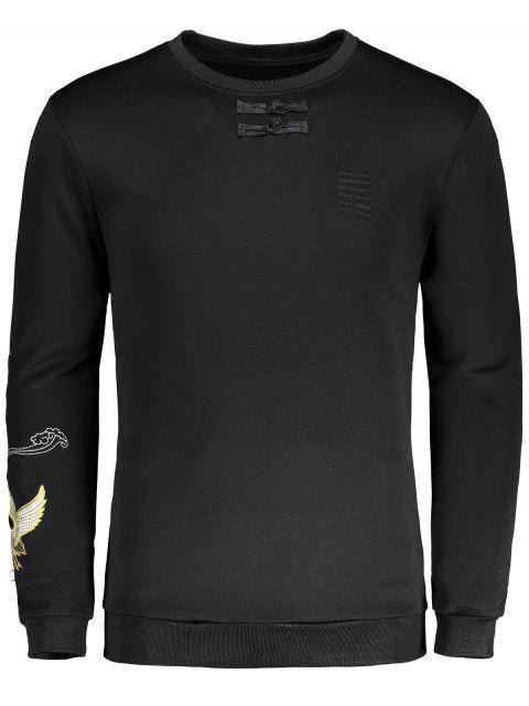Sweat-shirt à Oiseau Brodé avec Bouton Grenouille Détaillé - Noir XL Mobile