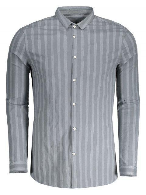 Botón encima de la camisa de la raya para hombre - Gris XL Mobile