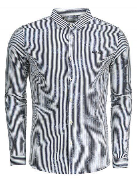 Camisa de tela a rayas para hombre - Azul XL Mobile