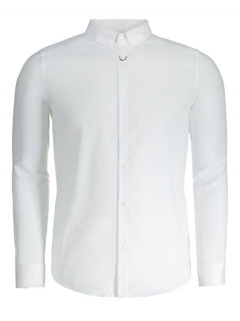 unique Button Down Mens Formal Shirt - WHITE 3XL Mobile
