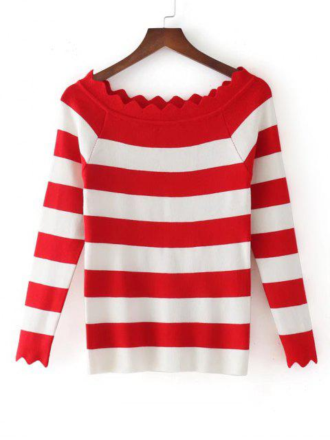 Stripes Scalloped fuera de los géneros de punto de hombro - Rojo Única Talla Mobile
