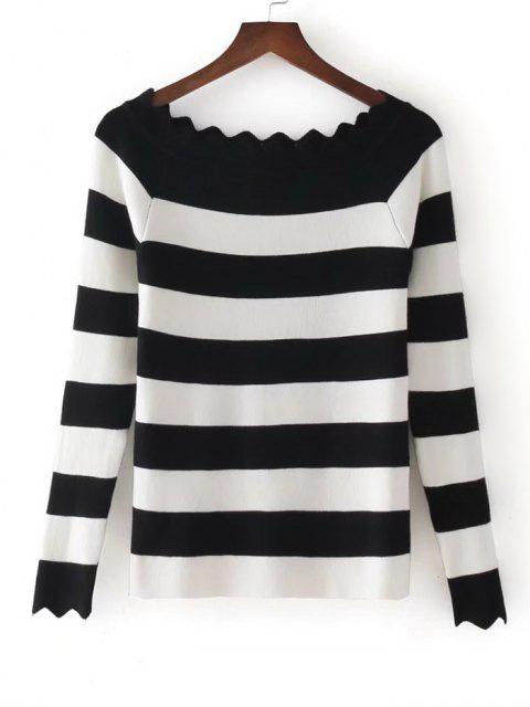 Stripes Scalloped fuera de los géneros de punto de hombro - Negro Única Talla Mobile