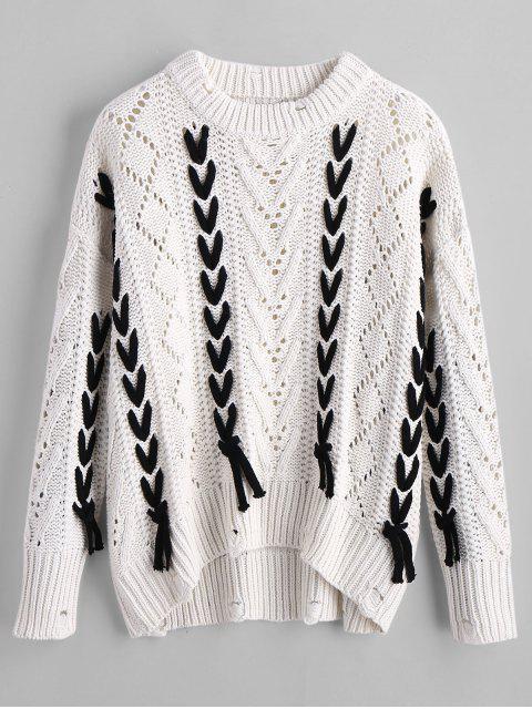 Suéter con encaje de gran tamaño - Blanco S Mobile